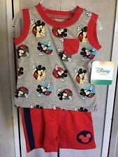 Disney Mickey Mouse Size 0-3 Months Grey Red Tank Top & Shorts 2 Piece Set NWT