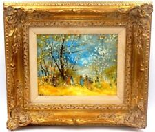 STEFANOS SIDERIS GREEK AMERICAN ARTIST VIBRANT FOREST OIL PAINTING *S. SIDERIS*
