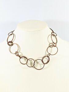 Copper Tone Open Circle Statement Choker Necklace 20.5 Inch Chain
