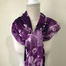 Nordstrom Wool Cashmere Purple Combo Floral Scarf Retail $99