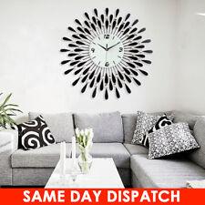 Vintage Metal Crystal Sunburst Home Decor Luxury Diamond Large Modern Wall Clock