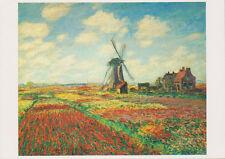 Carte Postale Moderne Tableau Claude Monet Champs de tulipes en Hollande Moulin