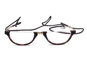 Half Moon Mens Women Wrap Neck Round Foldable Eyewear Eyeglasses Reading Glasses