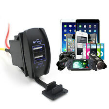 Car Auto 12V to 24V Dual USB Charger Power Adapter LED Outlet Boat Accessory New