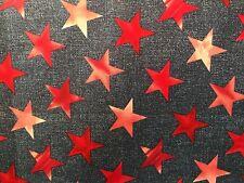 Patchworkstoff, blau, rot,  Sterne groß, nähen, NEU