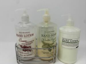 """Williams Sonoma Winter Forest Hand Soap & Cassis Lotion W/ Metal Cradle """"USED"""""""