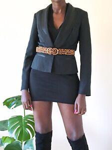 GF Ferre Ladies Black Blazer slim Italian fitted black evening formal UK 8-10
