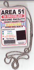 Area-51 Groomlake Security Agent novelty BADGE ID card Identification Card chain