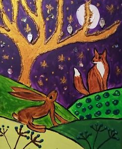 """Hare & Fox in the Moonlight,  acrylic on Canvas 10"""" x 12"""" By Casimira Mostyn"""