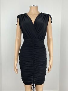 Pretty Little Thing Sexy Black Plunge Ruched Front Bodycon Mini Dress UK 6 New