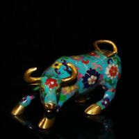 "6.5"" China Cloisonne Enamel Bronze Wire Inlay Gilding Corrida Cattle Ox Statue"
