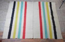 VTG Faribo Wool Blanket white hudson bay style striped blanket white 79x62