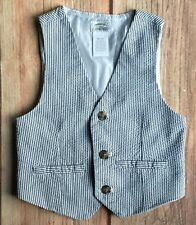 Gymboree vest size 4 4T boys Gray white striped Dressed Up Suit Style button