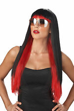Adult Long Black Red Two-Tone Punk Rock Diva Glam Costume Wig