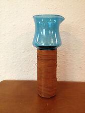 UnusualTall Blue Blown Glass Pitcher w/ Wood Veneer Wrapped Base