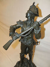 "Antique French Bronze ""Qui Vive"" by Edouard Drouot male figure soldier gun"