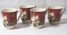 222 Fifth Poinsettia Holly Fine China Porcelain Christmas Coffee Mugs Set of 4