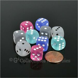 NEW Set of 10 Frosted 12mm Dice -  5 Colors Six Sided RPG MTG Game Dice Chessex