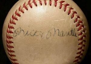 Mid 1950s MICKEY MANTLE Signed Yankees Baseball AUTO Harridge BALL hof JSA vtg