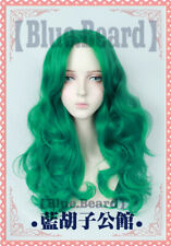 Anime Sailor Moon Neptune Kaiou Michiru Cosplay Wig Long Green Wavy Party Wigs