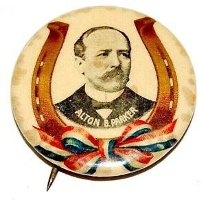 "1904 ALTON PARKER 1.25"" WISHBONE campaign pinback button political presidential"