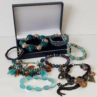 Costume Jewellery Bundle x 8 Blue Tone Bracelets Mixed Lots Resell Re-Wear