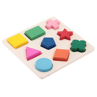 9pcs Dazzling Toys Wooden Shape Puzzle Jigsaw Kids Educational Puzzles Toy