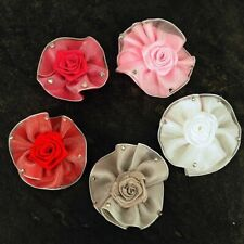 Roses, Rosebuds Felt Backed Diamante Ribbon Bows, Trimmings  White Pink  x 4 pcs