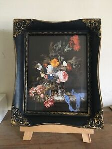 """Beautiful Vintage/antique Style Floral Print In Black/gold Frame 11x9"""""""