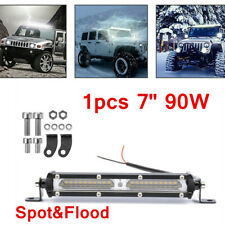 90W 7'' LED Light Bar Offroad Work Lamp Spot Flood Combo 4WD SUV Driving Lamps