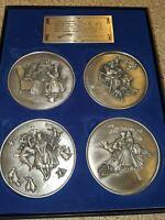 Summerhill Fine Pewter 4 Medallion Set Norman Rockwell Four Seasons SN #/10000