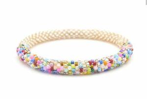 "Sashka Co reg 6-8"" ROSE GOLD BALANCE Glass Beaded BRACELET mixed beads Nepal"
