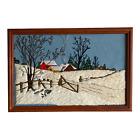 """Finished Vintage Crewel Winter Barn Pasture Scene Matted & Framed 24.25"""" x 16.5"""""""