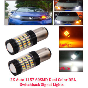 2x Amber White Dual Color Switchback SMD LED 1157 Front Turn Signal Light Bulbs