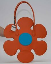 $1250 SS17 Moschino Couture Jeremy Scott Orange Flower Leather Shoulder Bag
