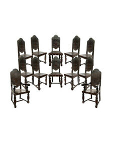 Grand set of 12 19th Century Spanish Colonial Revival Chairs Embossed Leather
