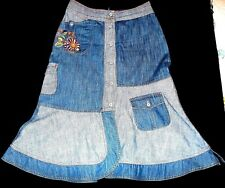 OILILY Women 36 6  8 10 Small Embroidered Scalloped Blue Jean Denim Skirt $500+