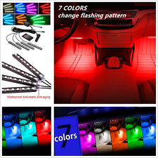 4X 12LED 7 Colorful Remote Control Car Interior Floor Decorative Light Strip RGB