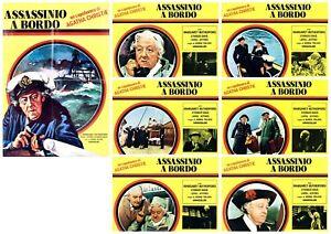 ASSASSINIO A BORDO SET LOTTO FOTOBUSTE 6+SOGG. AGATHA CHRISTIE GIALLO LOBBY CARD