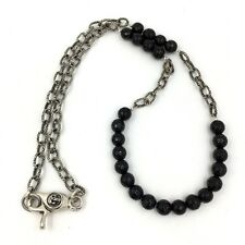 Onyx Bead Sterling Silver Chain Mens Necklace Skull Clasp