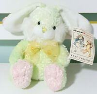 Vintage Myer Grace Bros Bunny Rabbit Plush Toy Green w/ Spotty Bow 16cm Tall!