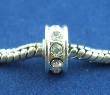 10 White Rhinestone Spacers Beads Fit Charm Bracelet