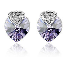 White Gold Plate Purple Love Heart Stud Earring Made With Swarovski Crystal XE78