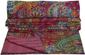 Double Taille Rose Cachemire Set Indien Coton Réversible Couvre-lit Literie