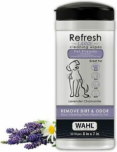 Wahl Refresh Cleaning Wipes For Dogs Lavender and Chamomile 50 Wipes 8in x 7in