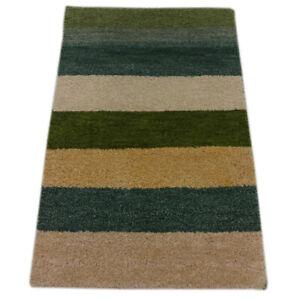 Gabbeh Teppich 58x88 cm Handgeknüpft  ~ 100% Wolle ~ Grün Beige Gold Blau M27