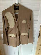 Vintage Whiting Skeet Shooting Sweater Size 34 Zip Front Cardigan Tan Padded