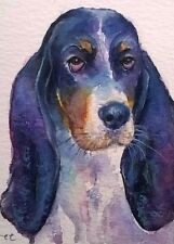 ORIGINAL ACEO watercolour animal/wildlife/art painting, DOG by Clare Crush