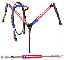 Western Horse Bling ! Beaded Leather American Flag Bridle Breast Collar Tack Set