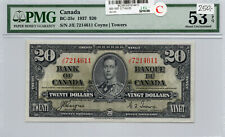 Bank of Canada 1937 $20 Twenty Dollars Coyne-Towers J/E Prefix PMG Certified AU